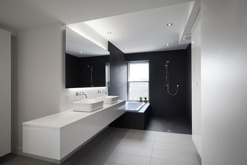 Idee per arredare il bagno e abbinamento colori - Bagno nero e grigio ...