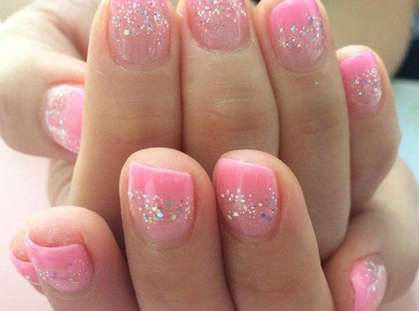 unghie,gel,primavera,rosa,glitter,decorazioni